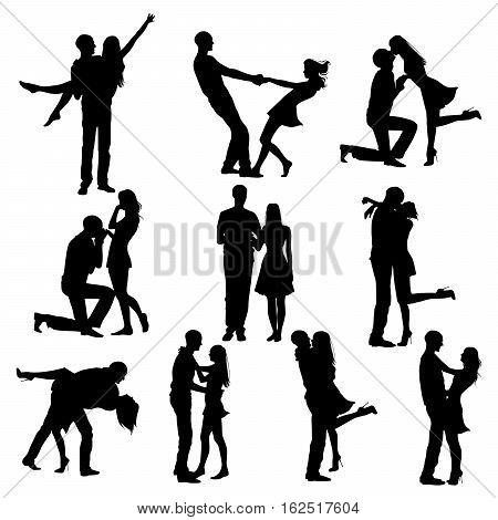 Collection of romantic couples in love silhouettes. Boy and girl happy family couple in love. Women and men in love.
