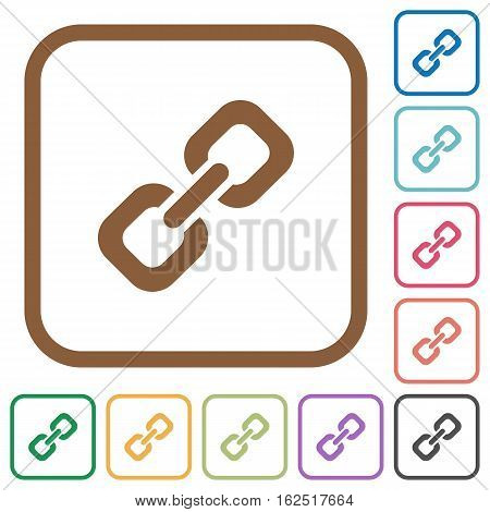 Link simple icons in color rounded square frames on white background