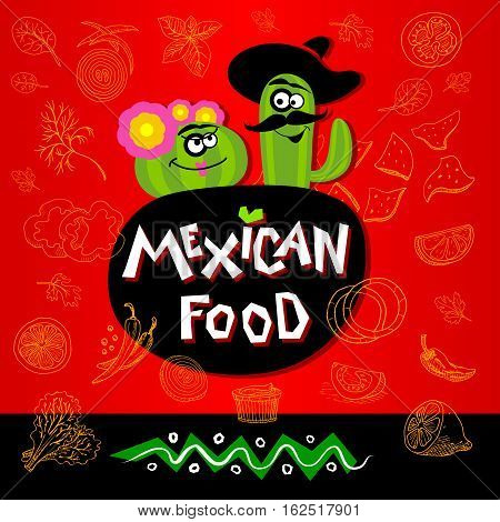 Set of stickers in sketch style food and spices. Fast food Mexican food logo. Ingredients nachos, cactus, flower, hat, guacamole, tomato, pepper, onion, salad, red