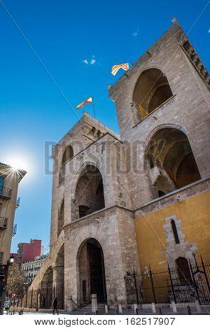 Exterior facade of Serranos Gate or Serranos Towers, part of the ancient city wall of Valencia, Spain