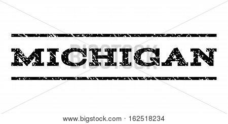 Michigan watermark stamp. Text tag between horizontal parallel lines with grunge design style. Rubber seal stamp with dirty texture. Vector black color ink imprint on a white background.