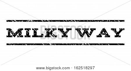 Milky Way watermark stamp. Text caption between horizontal parallel lines with grunge design style. Rubber seal stamp with scratched texture. Vector black color ink imprint on a white background.