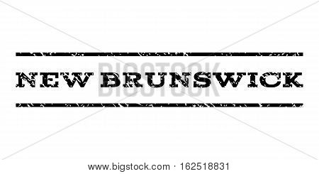 New Brunswick watermark stamp. Text caption between horizontal parallel lines with grunge design style. Rubber seal stamp with dust texture. Vector black color ink imprint on a white background.