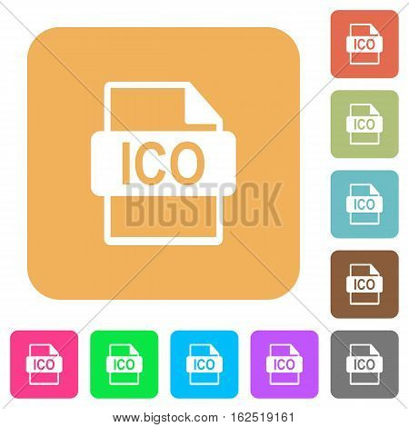 ICO file format icons on rounded square vivid color backgrounds.