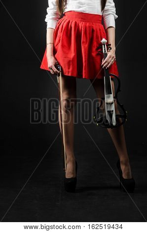 Feet girl in a skirt with a violin. Front view. Vertical photo