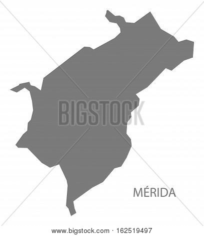 Merida Venezuela Map in grey federal state silhouette illustration