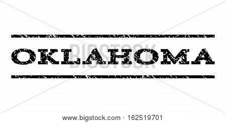 Oklahoma watermark stamp. Text caption between horizontal parallel lines with grunge design style. Rubber seal stamp with dust texture. Vector black color ink imprint on a white background.