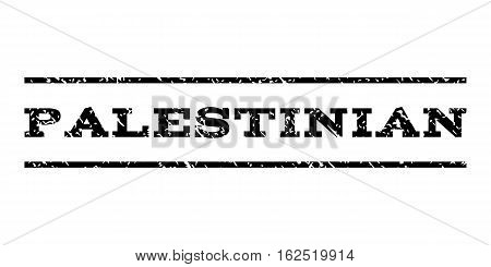 Palestinian watermark stamp. Text tag between horizontal parallel lines with grunge design style. Rubber seal stamp with dust texture. Vector black color ink imprint on a white background.