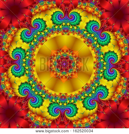 Colorful abstract background with floral circle ornament. You can use it for invitations notebook covers phone cases postcards cards ceramics carpets and so on. Artwork for creative design.