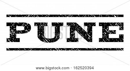 Pune watermark stamp. Text caption between horizontal parallel lines with grunge design style. Rubber seal stamp with scratched texture. Vector black color ink imprint on a white background.
