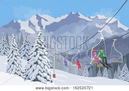 Winter mountain landscape. Lifts for skiing. Vector illustration