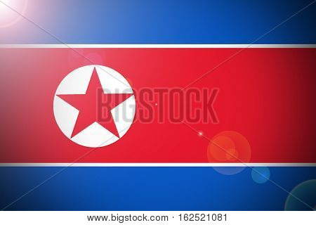North Korea flag ,3D North Korea national flag illustration symbol.