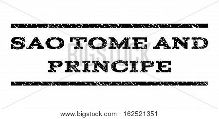 Sao Tome and Principe watermark stamp. Text tag between horizontal parallel lines with grunge design style. Rubber seal stamp with dirty texture. Vector black color ink imprint on a white background.