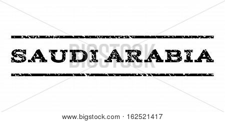 Saudi Arabia watermark stamp. Text tag between horizontal parallel lines with grunge design style. Rubber seal stamp with dust texture. Vector black color ink imprint on a white background.