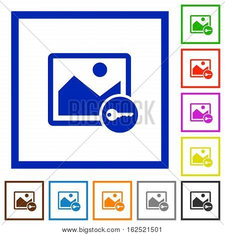 Encrypt image flat color icons in square frames on white background