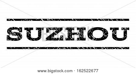 Suzhou watermark stamp. Text caption between horizontal parallel lines with grunge design style. Rubber seal stamp with dirty texture. Vector black color ink imprint on a white background.