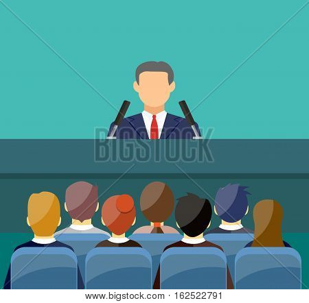 orator speaking from tribune. public speaker and crowd on chairs. vector illustration in flat style