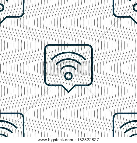 Podcast Icon Sign. Seamless Pattern With Geometric Texture. Vector