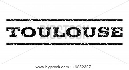 Toulouse watermark stamp. Text tag between horizontal parallel lines with grunge design style. Rubber seal stamp with scratched texture. Vector black color ink imprint on a white background.