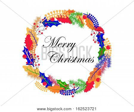 Christmas wreath vector illustration in colorful palette. Hand-drawn Christmas ornament. Christmas wreath with holly and oak leaves. Fir tree and leaf wreath. Merry Christmas banner or card template