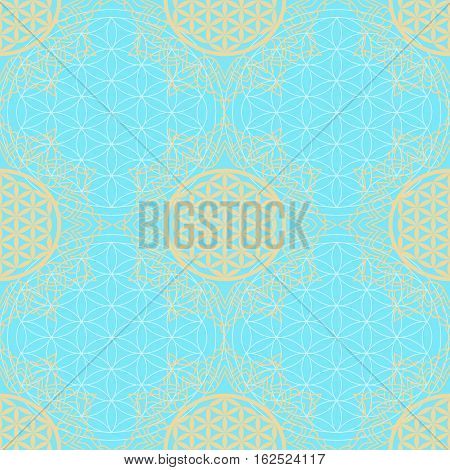 Seamless pattern with a symbol of the Flower of Life in the frame of the mandala. Bold Gold on turquoise background. Sacred Geometry. The ancient symbol of the Seed of Life.