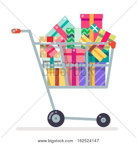 Shopping cart purchase and gift flat design character vector illustration
