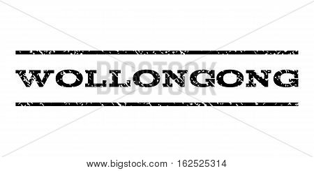 Wollongong watermark stamp. Text tag between horizontal parallel lines with grunge design style. Rubber seal stamp with dirty texture. Vector black color ink imprint on a white background.