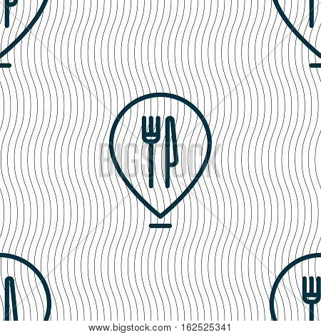 Map Pointer With Restaurant Icon Sign. Seamless Pattern With Geometric Texture. Vector
