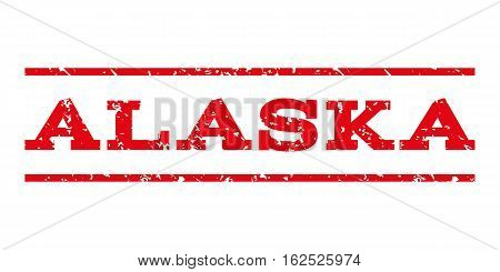Alaska watermark stamp. Text caption between horizontal parallel lines with grunge design style. Rubber seal stamp with scratched texture. Vector intensive red color ink imprint on a white background.