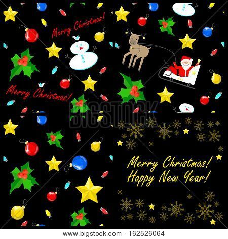 Christmas seamless texture units. Christmas decorations. Vector black background