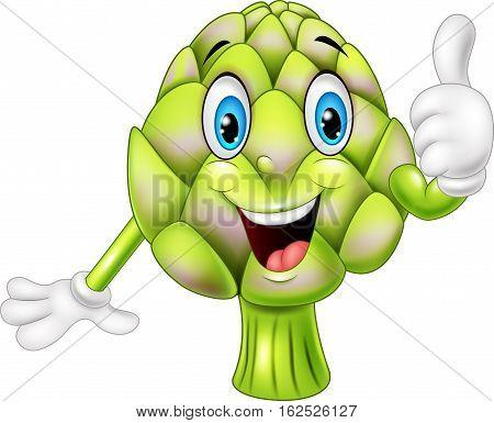 Vector illustration of Cartoon artichoke giving thumbs up