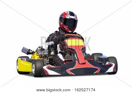 Isolated Adult Go Kart Racer on White