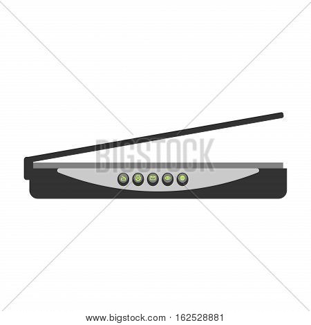 Wifi modem router isolated on white. Computer network detailed flat icon graphic illustration. Business hotspot smartphone free zone digital design.