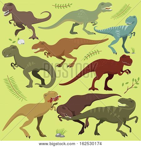 Cute and scary dinosaurs vector collection. Tyrannosaurus t-rex danger creature force. Wild jurassic predator prehistoric extinct illustration. Angry powerful large model.