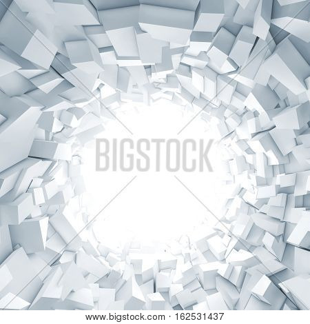 Abstract square digital background white tunnel interior with glowing end and walls made of technological chaotic blocks. 3d illustration