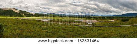 Panorama of Uzon Caldera. Kronotsky Nature Reserve on Kamchatka Peninsula.