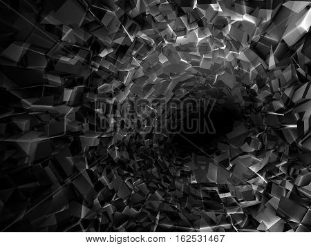 Abstract Digital Background, Black Tunnel