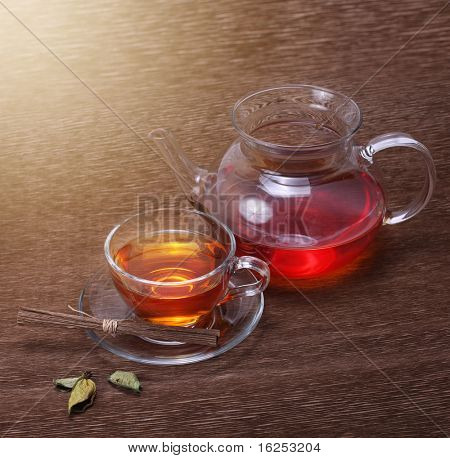cup with tea and teapot