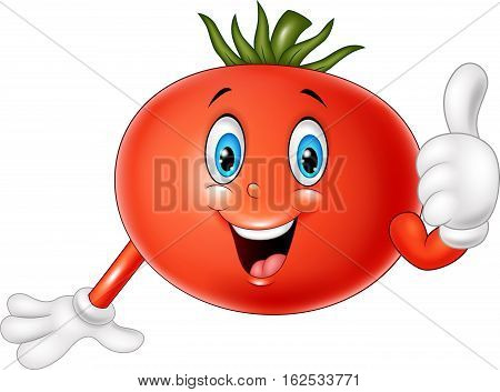 Vector illustration of Cartoon tomato giving thumbs up