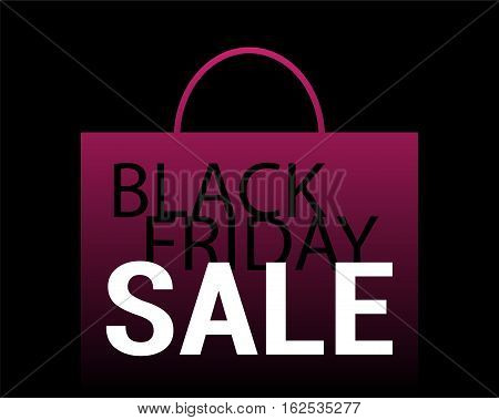 Black Friday Sale vector background. Pink shopping bag with text on black. Paper shopping bag icon. Black Friday flyer template with shopping bag fading in black. Black Friday Sale or Discount banner