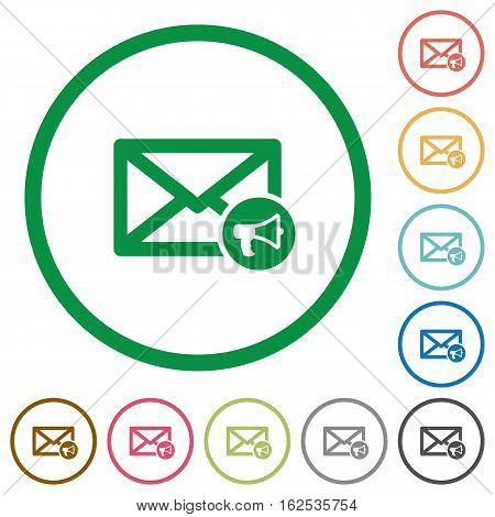 Mail reading aloud flat color icons in round outlines on white background