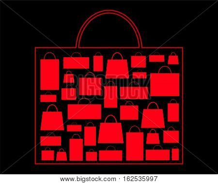 Black Friday Sale advertisement background. Red shopping bag on black. Paper shopping bag icon. Black Friday flyer template with shopping bag ornament. Black Friday discount banner. Red shopping bag