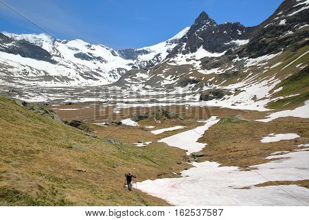 VANOISE, FRANCE - JUNE 20, 2016: Evettes cirque above the hamlet L'Ecot, Northern Alps