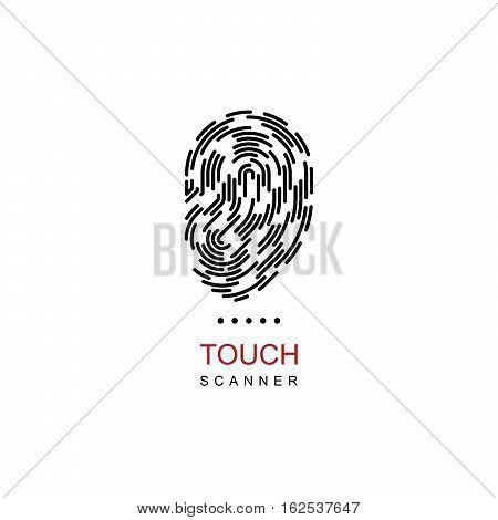 Outline fingerprint design template. Biometric authorization concept. Vector logo