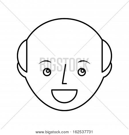 young man bald avatar character vector illustration design