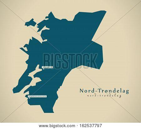 Modern Map - Nord Trondelag Norway No Illustration