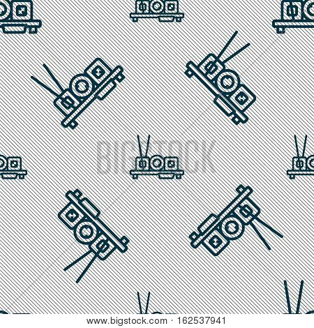 Sushi Icon Sign. Seamless Pattern With Geometric Texture. Vector