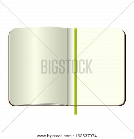 Template Open a blank notepad. Vector personal notebook with a brown cover and bookmark. Isolated on white background.
