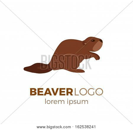 Flat vector beaver logo isolated on white background. Colorful illustration of forest beaver for your company logo or label. Flat style European forest animal collection