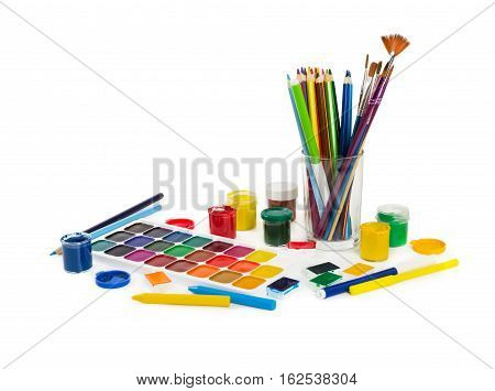 Colored Pencils, Felt Tip Pens, Chalks, Brushes And Paint For Painting